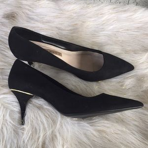 Zara Basic heels size 41 black Suede and gold New